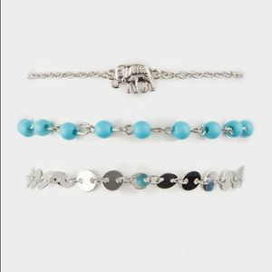 Elephant Anklet in Silver & Turquoise